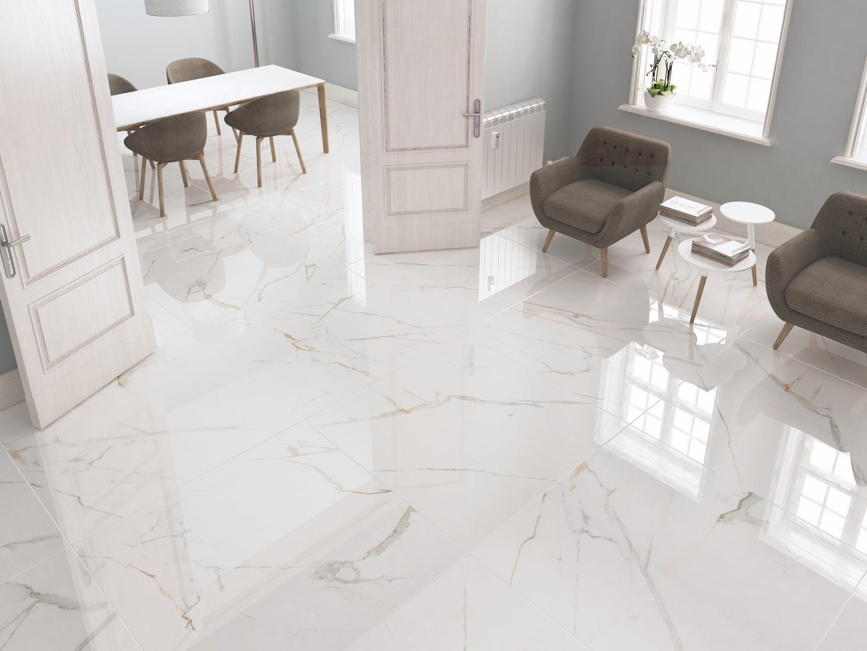 Carrelage blanc effet marbre 60x120 ecogol mat rue du for Carrelage 80x80 blanc