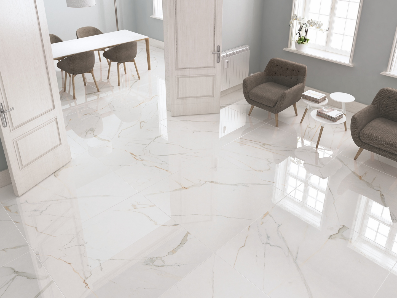 Carrelage blanc effet marbre 60x120 ecogol mat rue du for Carrelage interieur blanc