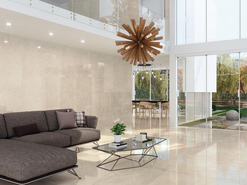 Carrelage 60x60 effet marbre beige cicre | BRILLANT