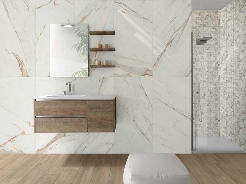 Carrelage effet marbre blanc 60x60 vision| SALLE DE BAIN