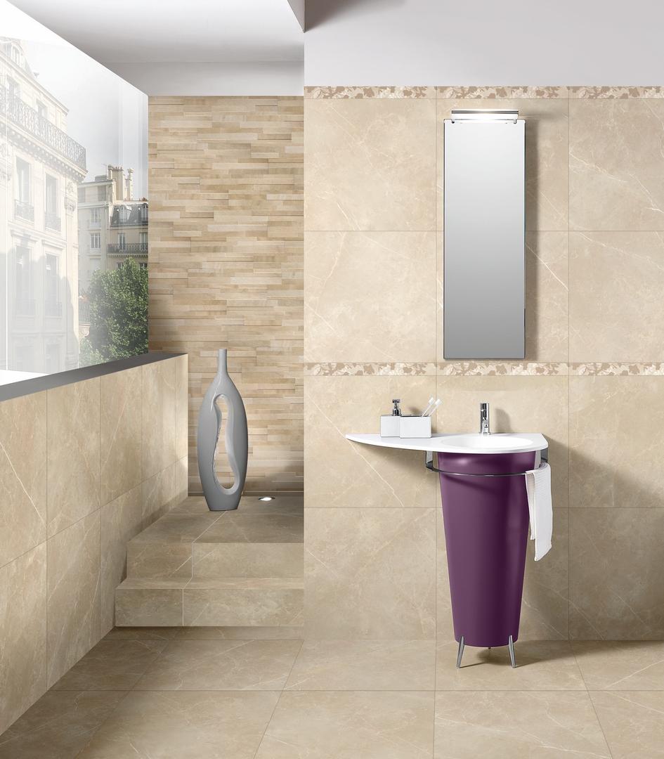 Carrelage effet marbre 16X16 beige brillant vision  SALLE DE BAINS
